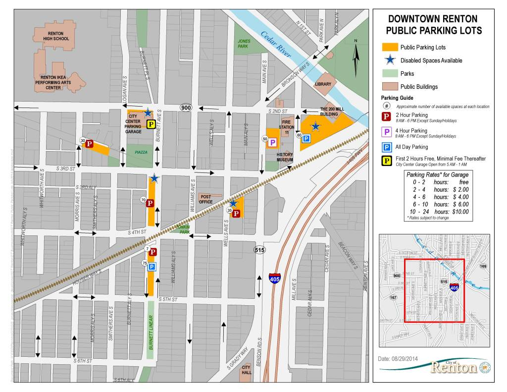 map of available public parking in downtown renton